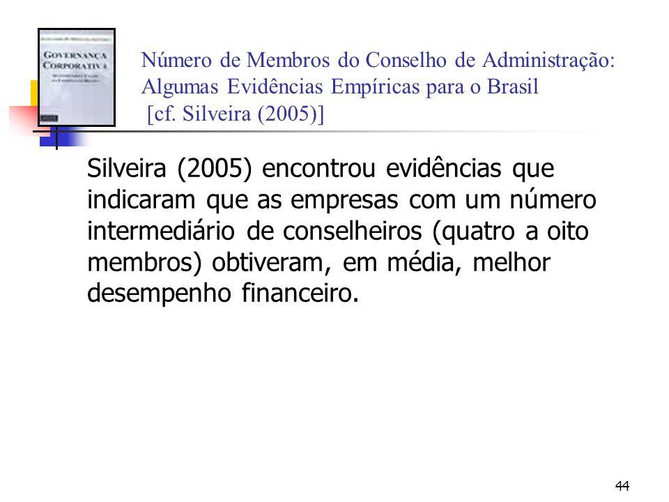 Número de Membros do Conselho de Administração: Algumas Evidências Empíricas para o Brasil [cf. Silveira (2005)]